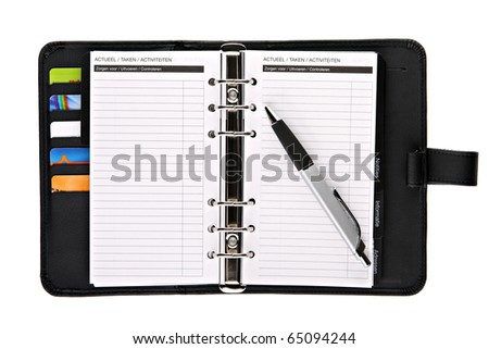 Ring binder organizer planner with pen