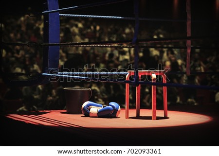 Ring corner before a fight in a Box event, at Mallorca
