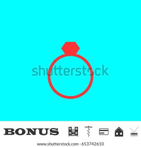 Ring icon flat. Simple red pictogram on blue background. Illustration symbol and bonus icons Music center, corkscrew, credit card, house, drum