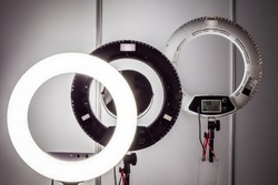 Ring lamps. Ring lamps for makeup artists. Ring light. Professional lighting devices. Equipment for beauty salons.