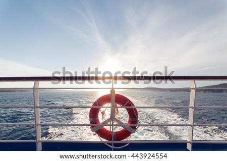 ring life boy on big boat...