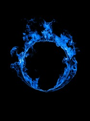 Ring of blue fire in black background