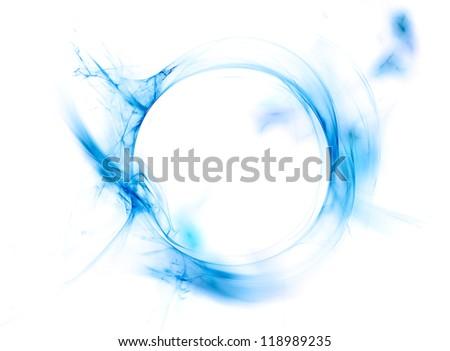 Ring of blue smoke isolated on white background
