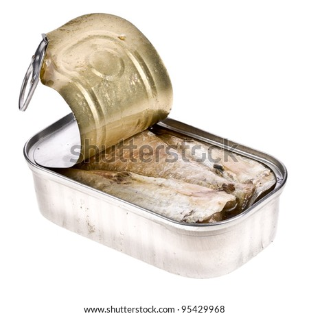 Ring-pull can of sardines in oil isolated over white