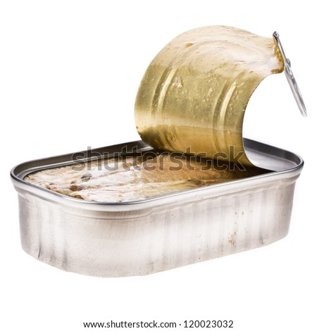 Ring-pull can of sardines in oil isolated over white background