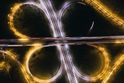 Ring road illuminated at night aerial drone photo view. Dabrowa Gornicza, Silesia Poland