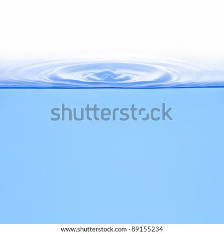 Ring shape waves on water from drop isolated on white