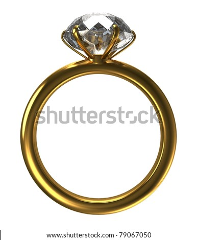 ring with a large diamond on a white background