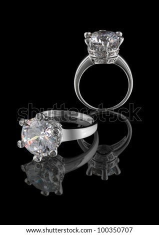 Ring with big diamond isolated on white background