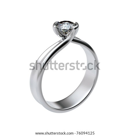 Ring with diamond isolated on white background