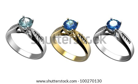 Ring With Diamond Isolated On White Background. Swiss Blue ... Grandidierite Engagement Ring