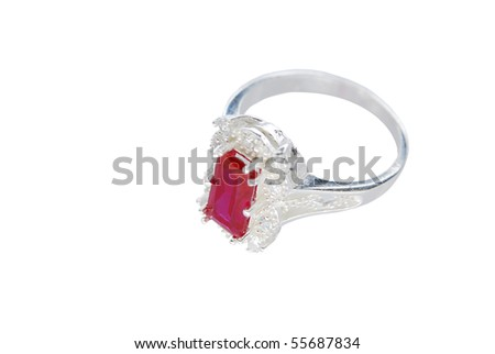 Ring with pink stone isolated on the white
