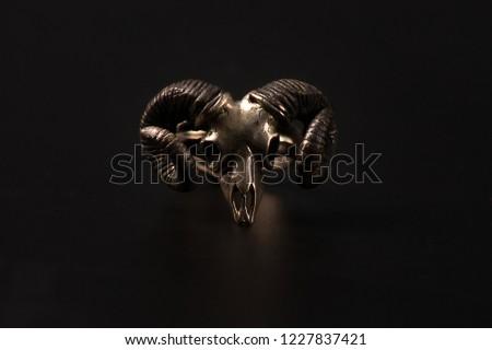 ring with ram skull, gothic jewelry Stock photo ©