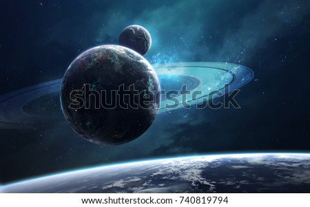 Stock Photo Ringed planet in deep space. Science fiction fantasy in high resolution ideal for wallpaper and print. Elements of this image furnished by NASA