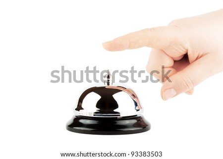 Ringing a Bell for Service with Hand on the white background