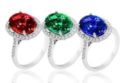 rings and jewlery in gold and silver with diamonds, gemstones emerald sapphire and ruby