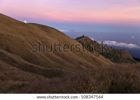 Rinjani National Park by sunset,Lombok - Indonesia