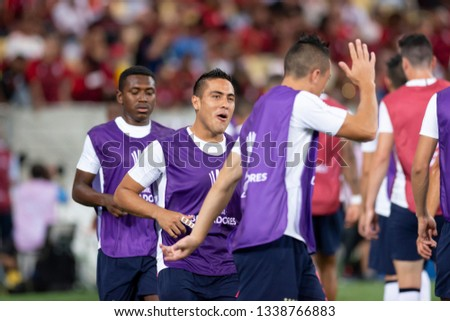 Rio, Brazil - march 13, 2019: Andres Chicaiza player in match between Flamengo (BRA) and LDU (ECU) by the Libertadores Cup in Maracana Stadium #1338766883