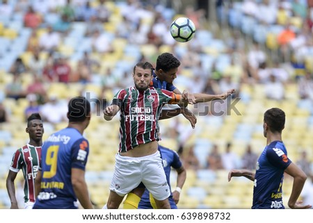 Rio, Brazil - may 14, 2017: Henrique Dourado player in match between Fluminense and Santos by the Brazilian championship in Maracana Stadium