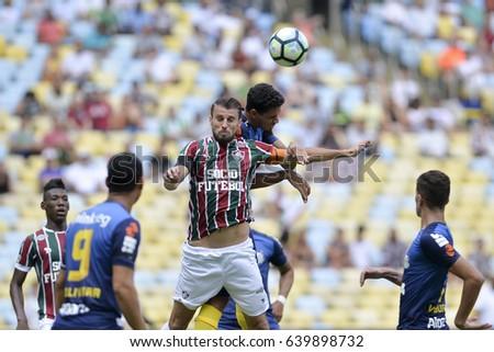 Rio, Brazil - may 14, 2017: Henrique Dourado player in match between Fluminense and Santos by the Brazilian championship in Maracana Stadium