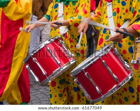 Rio Brazil Samba Cranival music played on drums by colorfully dressed  musicians