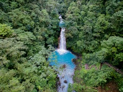 Rio Celeste Costa Rica from the sky aerial view