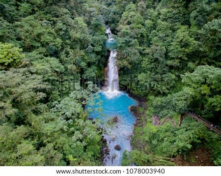 Rio Celeste Costa Rica from the sky aerial view Foto d'archivio ©