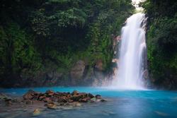 Rio Celeste waterfall in Tenorio Volcano national park, Costa Rica.
