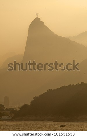 Rio de Janeiro at dusk with the view of Corcovado.