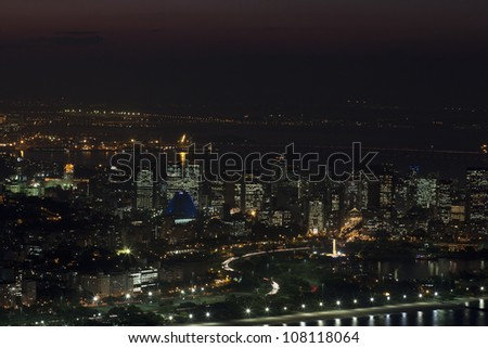 Rio de Janeiro at night, view from Sugarloaf mountain