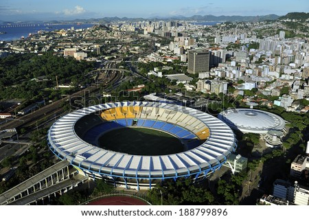 Rio de Janeiro Brazil-April 11 2010 Maracana Stadium world famous stadium originally built in 1950 for FIFA World Cup will host 2014 World Cup and opening & closing ceremony of 2016 Rio Olympics