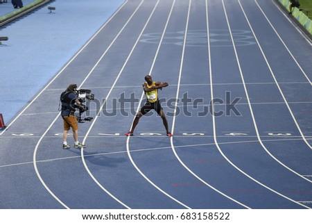 Rio de Janeiro, Brazil - august 18, 2016: Runner Usain Bolt (JAM) during 800m Men's run in the Rio 2016 Olympics #683158522
