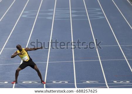 Rio de Janeiro, Brazil - august 18, 2016: Runner Usain Bolt (JAM) during 800m Men's run in the Rio 2016 Olympics #688257625