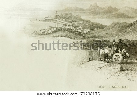 RIO DE JANEIRO, BRAZIL- CIRCA 1828-A scene overlooking Rio De Janeiro. This image is of an antique miniature drawing from the Illustrated Atlas of the World published circa 1828