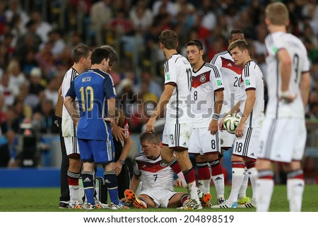RIO DE JANEIRO, BRAZIL - July 13, 2014: Kramer head injury during the World Cup Final game between Argentina and Germany at Maracana Stadium. NO USE IN BRAZIL.