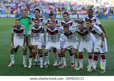 RIO DE JANEIRO BRAZIL July 13 2014 Players of Germany pose for a photo before the 2014 World Cup Final game between Argentina and Germany at Maracana Stadium NO USE IN BRAZIL