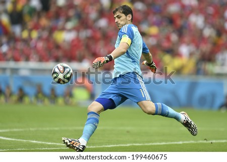 RIO DE JANEIRO, BRAZIL - June 18, 2014: Iker CASILLAS of Spain kicks the ball during the 2014 World Cup Group B game between Spain and Chile at Maracana Stadium.