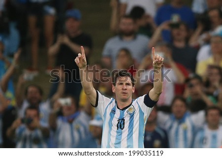 RIO DE JANEIRO BRAZIL June 15 2014 Messi of Argentina during the World Cup Group F game between Argentina and Bosnia at Maracana Stadium No Use in Brazil