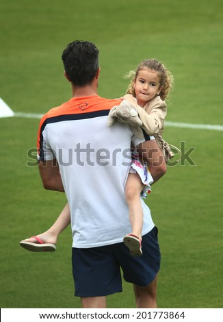 RIO DE JANEIRO, BRAZIL -June 30, 2014: The Netherlands national soccer team training in preparation for the 2014 World Cup soccer tournament,  No Use In Brazil.