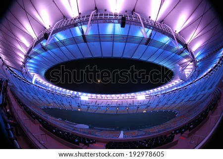 RIO DE JANEIRO BRAZIL MAY15 2014 Lighting test at the Maracana Stadium as part of the preparation of the FIFA World Cup 2014