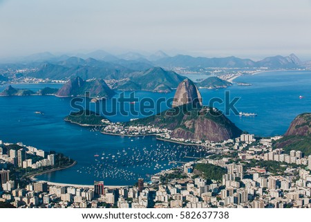 Rio de Janeiro, Brazil - May 5, 2014; View of Rio de Janeiro and Sugarloaf Mountain from Corcovado view point on May 5, 2014 #582637738