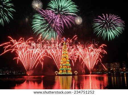 Rio de Janeiro-Brazil november 30 2014 Christmas tree in Rodrigue de Freitas lagoon in the south of the city of Rio de Janeiro