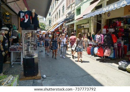 "Rio de Janeiro, Brazil - september 09, 2017:  Street of the ""Saara"" region, popular street shopping place in the city #737773792"