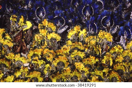 RIO DE JANEIRO - FEBRUARY 22: A group of Samba dancer dressed up for the Rio Carnival in Sambadome February 22, 2009 in Rio de Janeiro, Brazil. The Rio Carnival is the biggest carnival in the world.