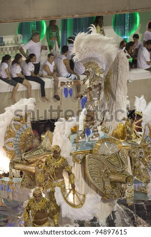 RIO DE JANEIRO - FEBRUARY 22: A group of Samba dancers dressed up for the Rio Carnival in Sambadome February 22, 2009 in Rio de Janeiro, Brazil. The Rio Carnival is the biggest carnival in the world