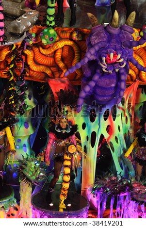 RIO DE JANEIRO - FEBRUARY 22: A huge float was shown in the Rio Carnival in Sambadome February 22, 2009 in Rio de Janeiro, Brazil. The Rio Carnival is the biggest carnival in the world.