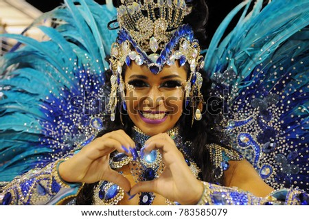 Rio de Janeiro, February 22, 2015. Parade of the Samba Schools during the Carnival of Rio de Janeiro, considered the largest carnival in the world, in Sambodromo, in the city of Rio de Janeiro, Brazil