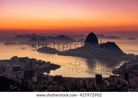 Rio de Janeiro just before Sunrise, view with the Sugarloaf Mountain #425972902
