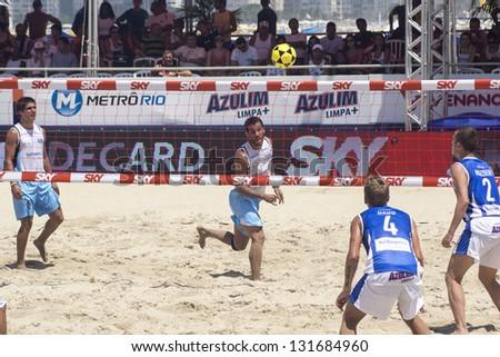 RIO DE JANEIRO - MARCH 09: Attack prom Uruguay Team. Event Mundial de Futevolei 4 X 4 2013,  March 09, 2013 in Rio de Janeiro, Brazil