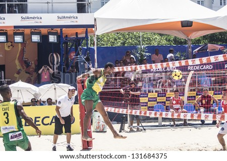 RIO DE JANEIRO - MARCH 09: Game of the teams Brasil A and Paraguay,. Event Mundial de Futevolei 4 X 4 2013,  March 09, 2013 in Rio de Janeiro, Brazil